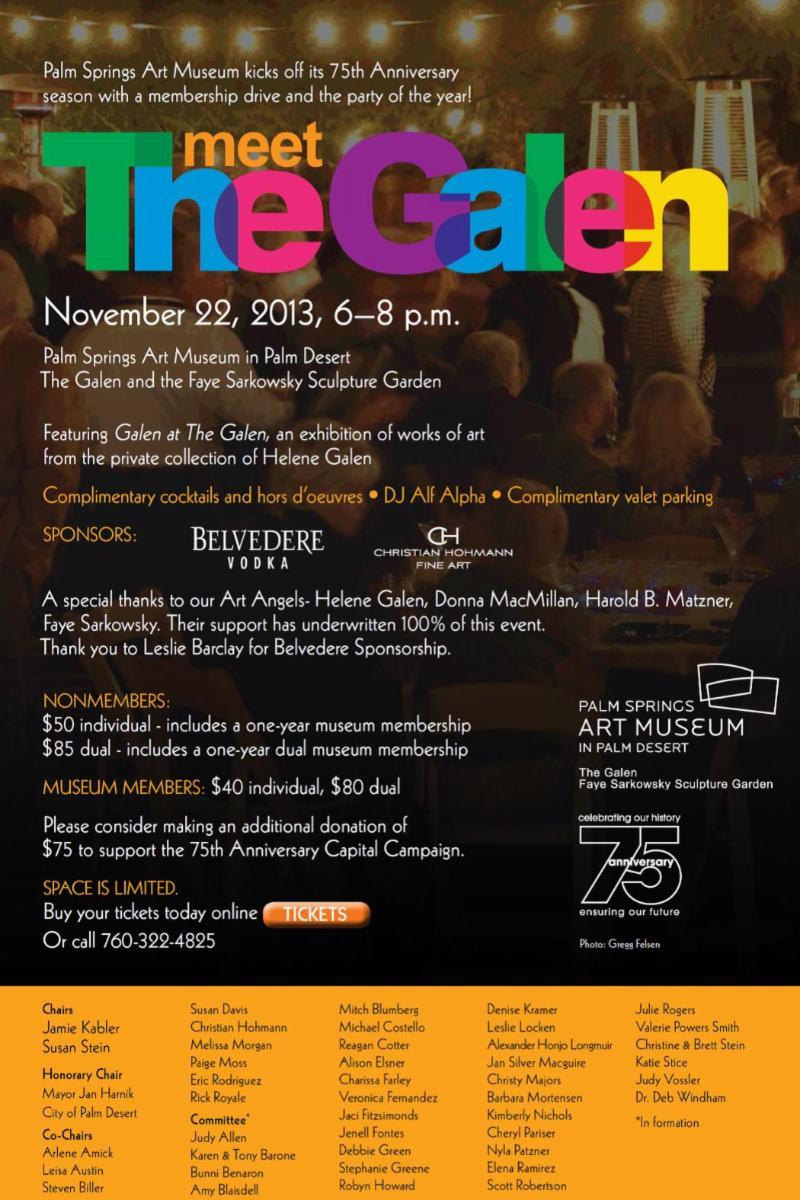 Palm Springs Art Museum – Meet The Galen – Nov 22, 2013