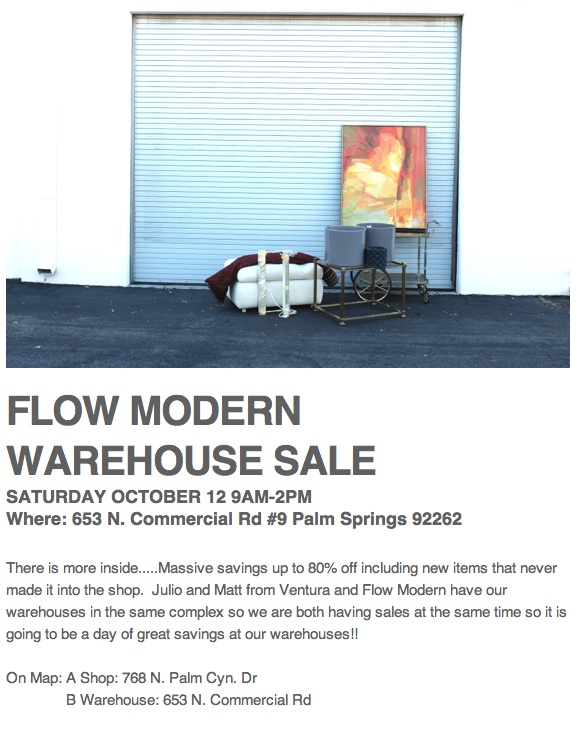 Modern Design - Palm Springs - Warehouse sale on October 12, 2013, from 9am until 2pm