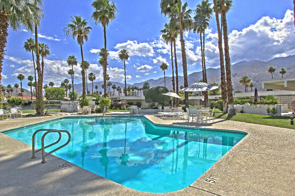 Firebird Estates pool with panoramic views of the Mountains in central Palm Springs