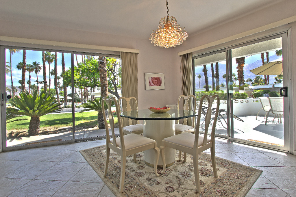 dining room of a palm springs mid century modern condo