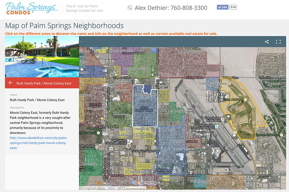 Map of Palm Springs Neighborhoods