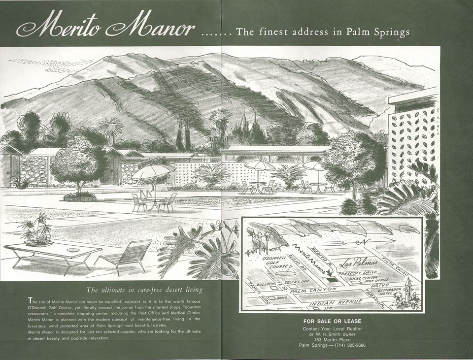 Merito Manor, Palm Springs, vintage real estate advertisements