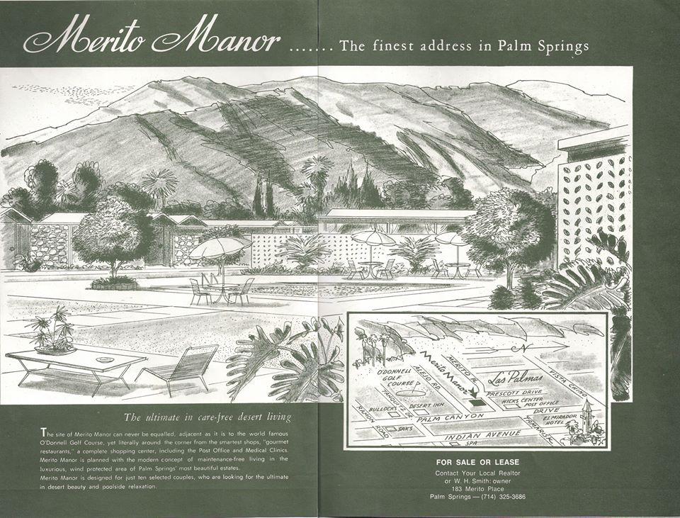 Merito Manor, Palm Springs, vintage real estate advertisements