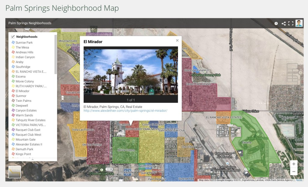Search Palm Springs Real Estate for sale with a neighborhood map