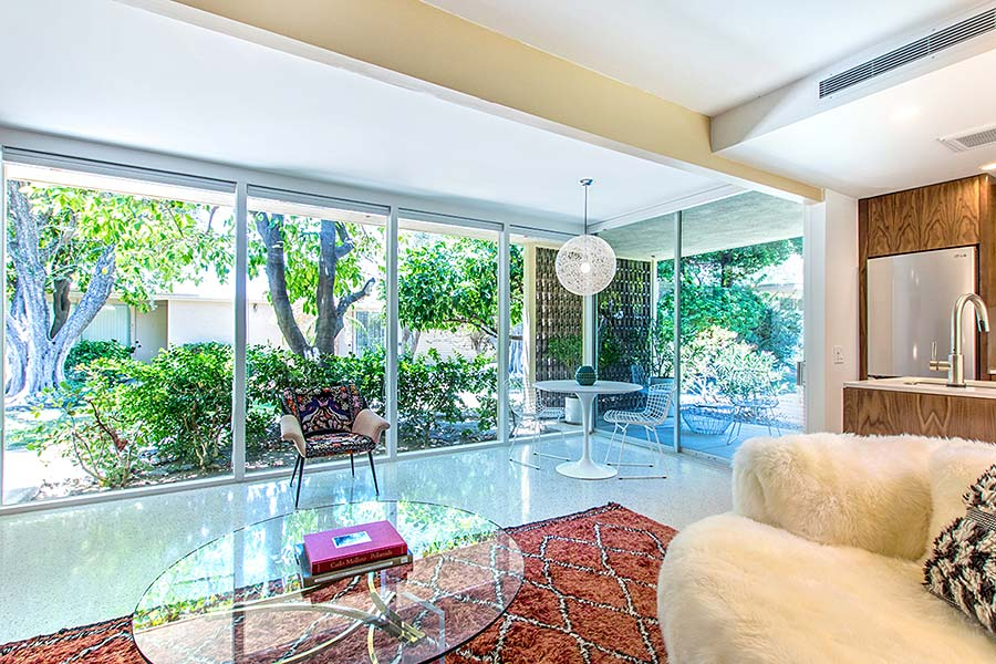 Mid century modern palm springs real estate condos and Floor to ceiling windows for sale