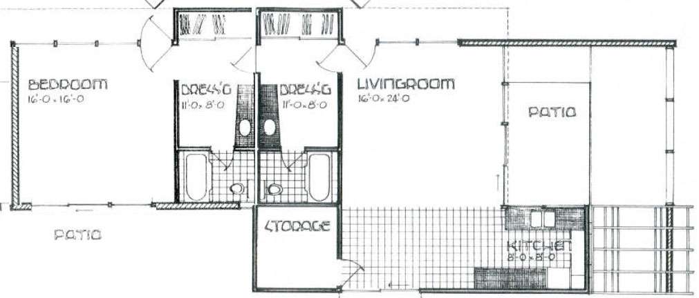 Layout of a double unit at the Racquet Club Garden Villas