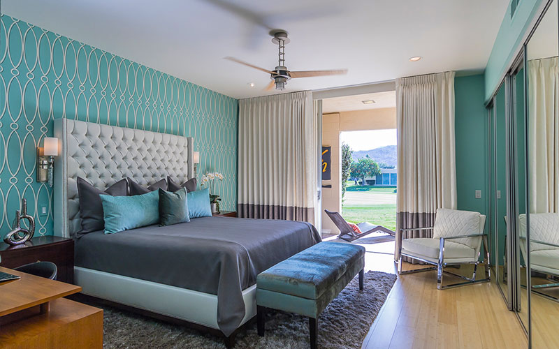 Large master bedroom with views