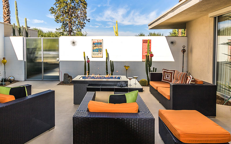 Private Patio with fire pit at 172 Desert Lakes
