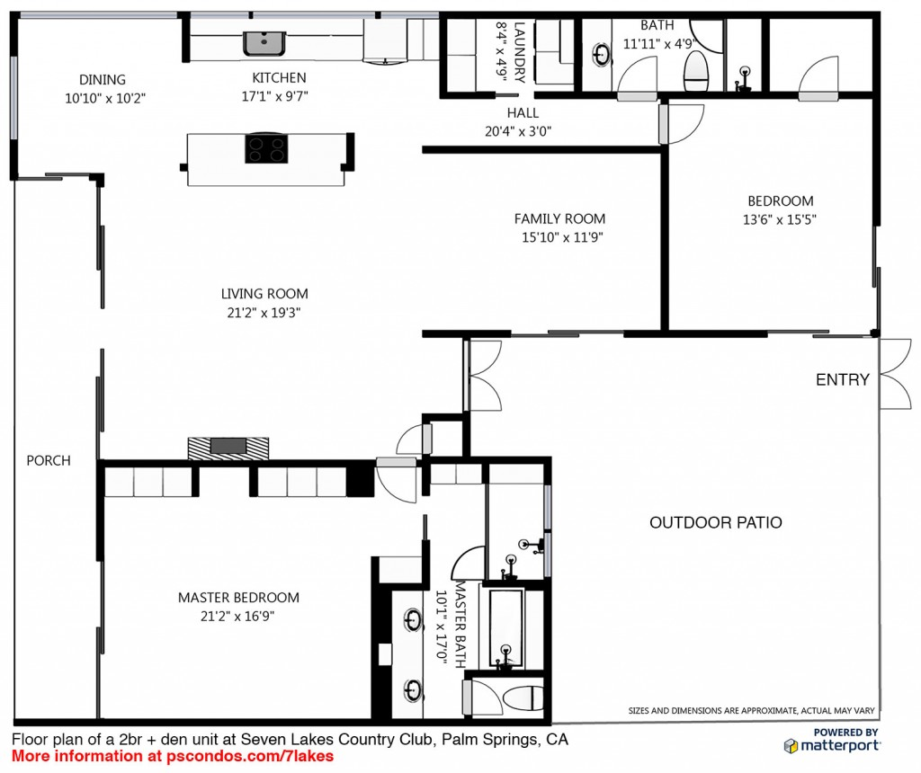floor plan of a 2 bed + den unit at seven lakes country club